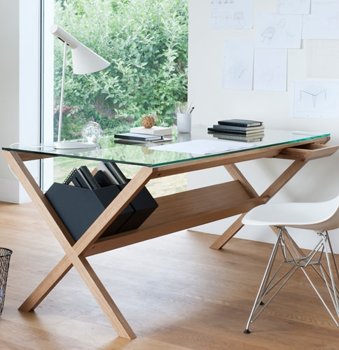 Glass desk with criss cross wooden legs