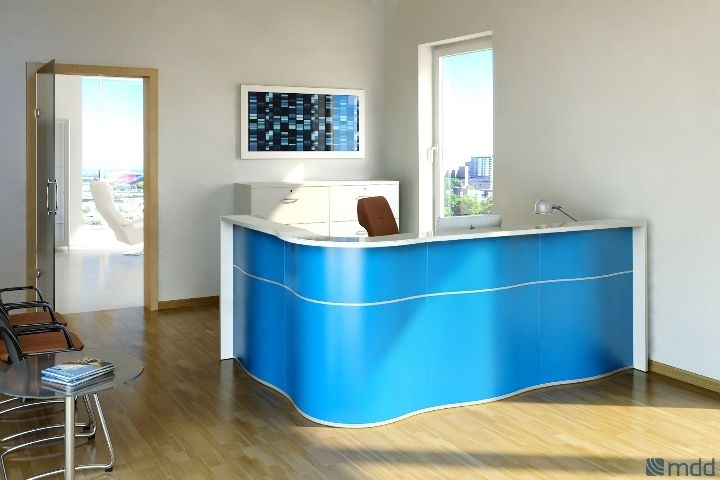 blue reception desk