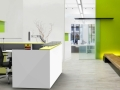 white green reception desk