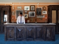 wood panels reception desk