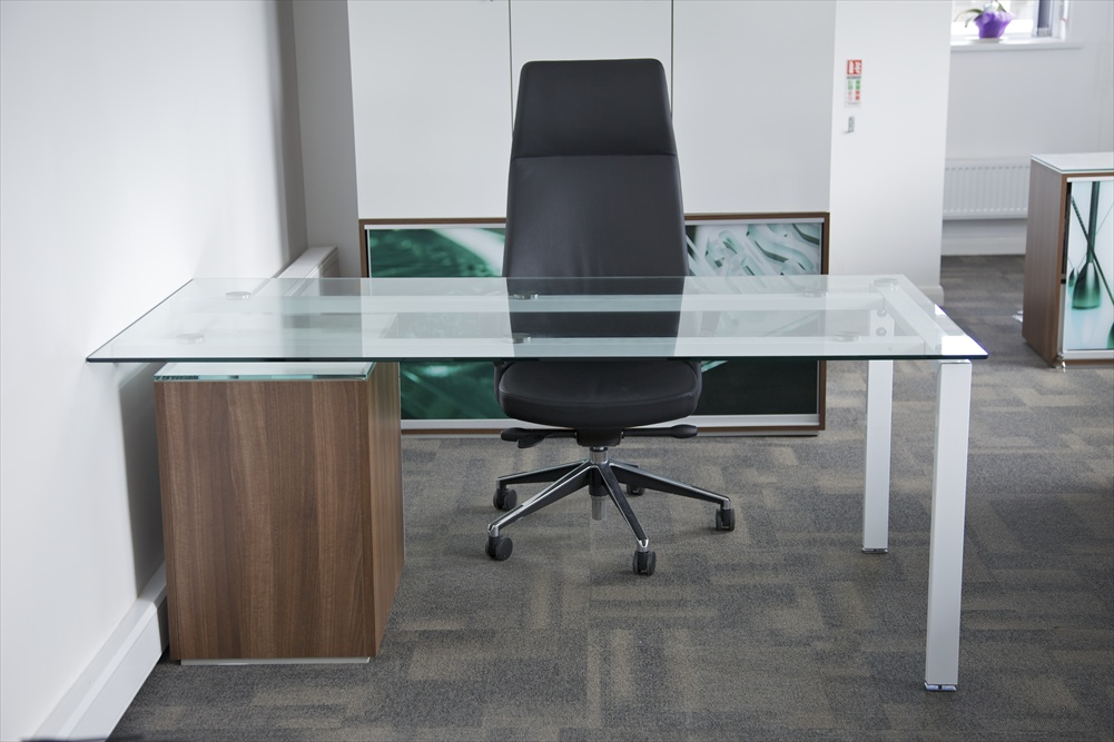 Glass desk with wood and single legs