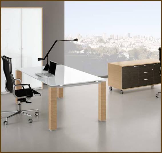 Glass desk with light wood legs