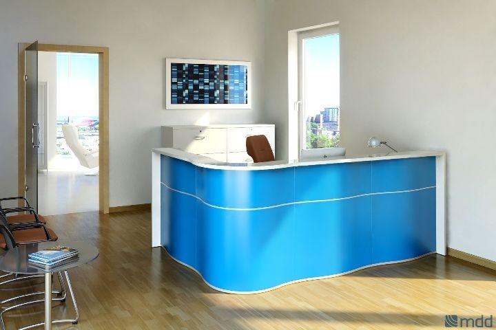 blue reception desk
